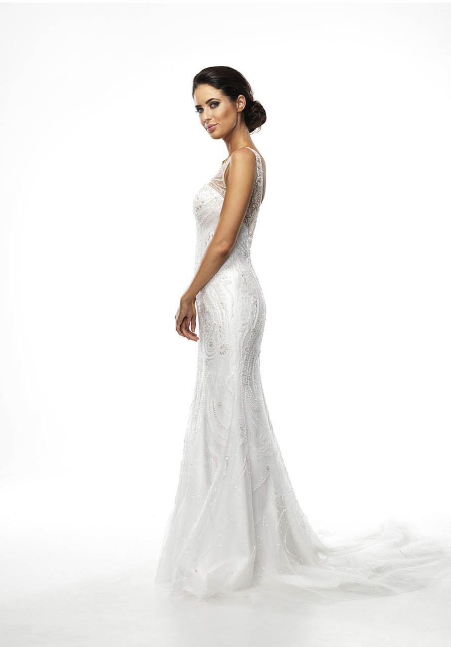 Hailey bridal fit flare gown gallery for Belle jardin blanc de blancs