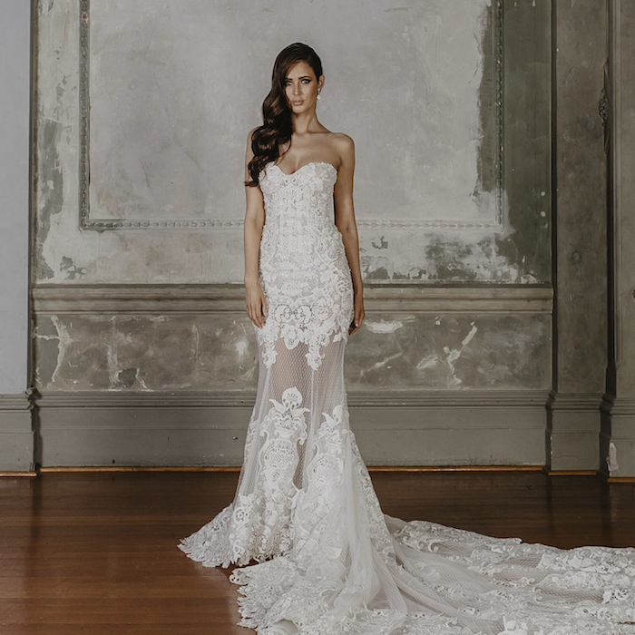 raya Wedding Dress Shop Melbourne Sheer Fit and Flare Gown with Beading